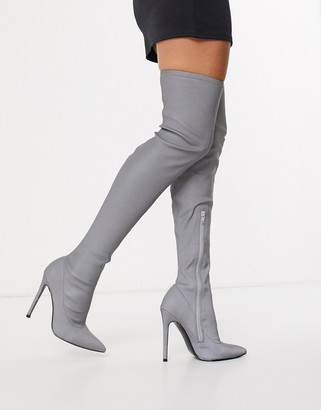 Asos Design DESIGN Kendra stiletto thigh high boots in reflective-Silver
