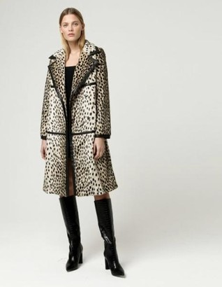 CHARLOTTE SIMONE Dotty Leopard Longline Coat - M