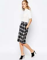 The Laden Showroom X Among Plaid Pencil Skirt with Back Split