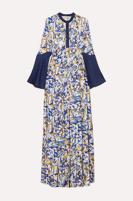 Mary Katrantzou Desmine Pleated Printed Satin-twill Maxi Dress - Blue