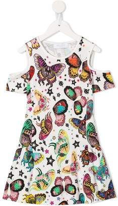Roberto Cavalli Junior Cut-Out Shoulder Butterfly Dress