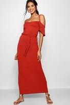 boohoo Isla Open Shoulder Maxi Dress