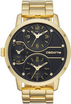 Claiborne Mens Gold-Tone Black Dial Watch