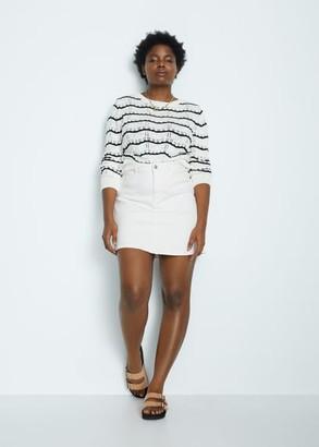 MANGO Violeta BY Denim miniskirt white - S - Plus sizes