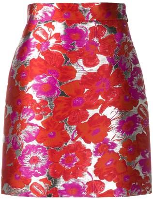 MSGM Metallic Floral-Jacquard Skirt