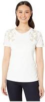 Calvin Klein Short Sleeve Top w/ Floral Applique (Soft White) Women's Clothing