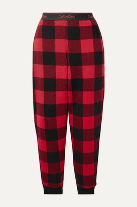 Calvin Klein Underwear Checked Cotton-blend Jersey Pajama Pants - Red