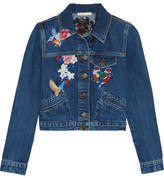 Maje Cropped Embroidered Denim Jacket - Mid denim