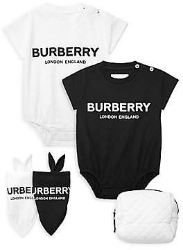 Burberry Baby's Berta Three-Piece Logo Bodysuit, Bib & Pouch Set