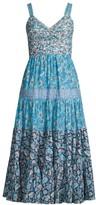 Rebecca Taylor Mixed Floral Print Midi Dress