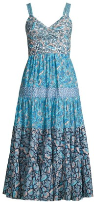 La Vie Rebecca Taylor Mixed Floral Print Midi Dress