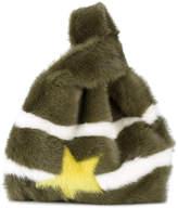 Simonetta Green Furrissima star stripe fur bag