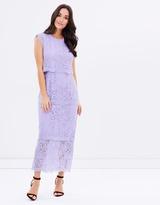 Warehouse Two Tone Tiered Lace Midi Dress