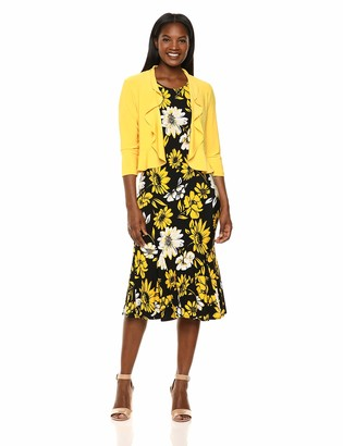 Danny And Nicole Danny & Nicole Women's Two Piece Ruffle V-Neck Jacket and Midi Dress