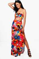 boohoo Krissy Bandeau & Tropical Maxi Skirt Co-ord