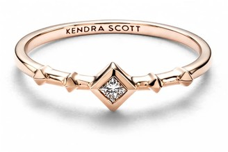 Kendra Scott Wave 14k Rose Gold Band Ring in White Diamond