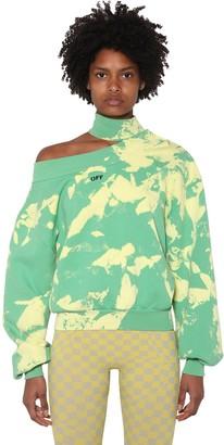 Off-White Printed Cutout Cotton Sweatshirt