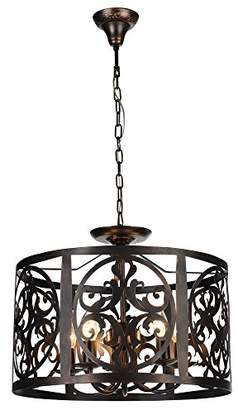 Rustic LOFT Designer Pendant Lamp Dark Brown Metal Frame with Ornament Adjustable Chain excl. 5 Bulbs x E14 60W