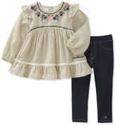 Calvin Klein 2-Pc. Embroidered Tunic & Denim Leggings Set, Little Girls (4-6X)