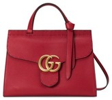 Gucci Gg Marmont Top Handle Leather Satchel - Blue