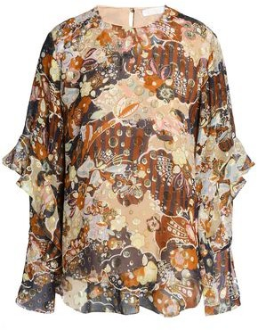 Chloé Ruffle-trimmed Printed Fil Coupe Silk-gauze Blouse