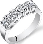 Ice 1 CT TW Genuine Diamond 14K White Gold 5-Stone Wedding Band