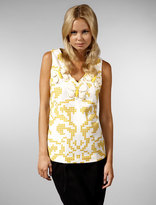 V-Neck Sleeveless Top in Yellow Print