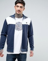 Pretty Green Edzell Tricot Track Top Slim Fit in Navy/White