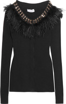 Sonia Rykiel Feather and crystal-embellished ribbed wool-blend cardigan