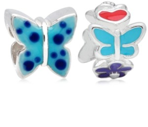 Rhona Sutton 4 Kids Children's Enamel Butterfly Flowers Bead Charms - Set of 2 in Sterling Silver