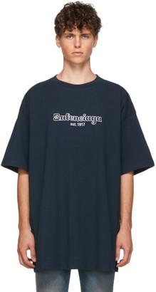 Balenciaga Navy and White Est. 1917 T-Shirt