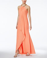 Calvin Klein Embellished Draped Gown