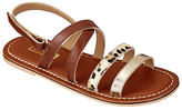 John Lewis Animal Print Double Strap Sandals, Tan
