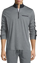 Michael Kors Nylon-Trim Half-Zip Pullover Sweater, Gray