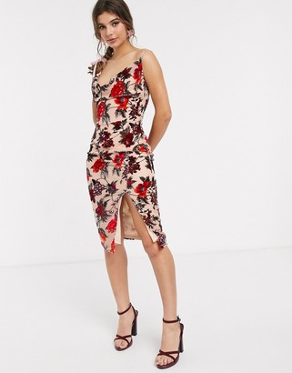 In The Style x Meggan Grubb cowl front cami strap devore midi dress in red multi floral