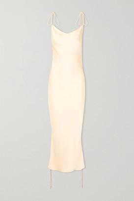 Orseund Iris Ruched Satin Dress - Cream