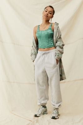 adidas Light Grey Cuffed Joggers - Grey UK 6 at Urban Outfitters