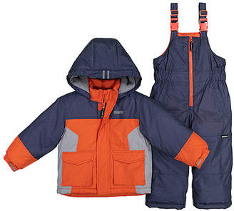 Osh Kosh Boys' Puffer Coats ORANGE - Orange Color Block Puffer Coat & Navy Snow Bib Set - Infant & Toddler