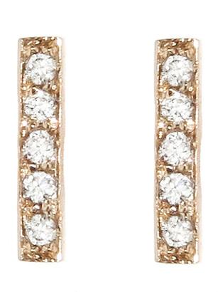 Jennifer Meyer Diamond Bar Rose Gold Stud Earrings