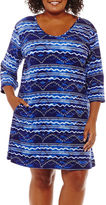 Porto Cruz Waves Knit Swimsuit Cover-Up Dress-Plus