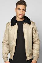 Boohoo Nylon Bomber W/Detachable Borg Collar