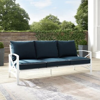 Breakwater Bay Crase Patio Sofa with Cushions Cushion Color: Navy, Frame Color: White