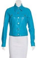 Celine Leather Button-Up Jacket