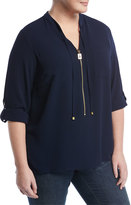 MICHAEL Michael Kors Dogtag-Pull Roll-Sleeve Shirt, Navy, Plus Size