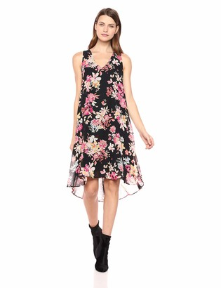 Sharagano Women's Sleevelss Chiffon Dress Black/Peony Coral Multi 4