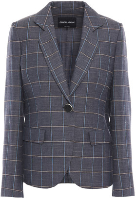Giorgio Armani Checked Wool, Mulberry Silk And Linen-blend Blazer
