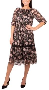 NY Collection Petite Crochet-Trim Peasant Dress