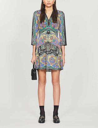 Sandro Rayan paisley-print satin midi dress
