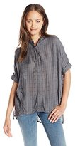 UNIONBAY Women's Edison Drapey Window Pane Short Sleeve Woven Shirt