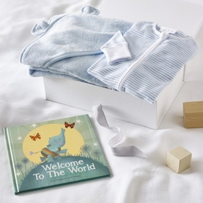 The White Company Blue Welcome To The World Gift Set, Blue, 0-3mths